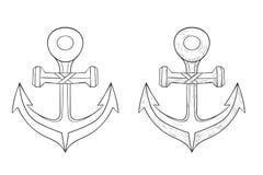 anchor Icône d'ensemble et croquis tiré par la main illustration de vecteur