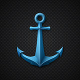 Anchor icon on black textured background Stock Image