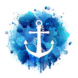 Anchor icon with chain. Anchor white icon with chain on abstract artistic background of blue paint splashes. Vector illustration Stock Images