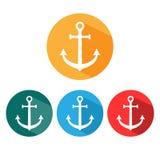 Anchor icon. Set. Vector illustration, flat design. vector illustration