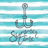 Anchor icon. Summer background. Hand lettering. Anchor icon Stock Illustration