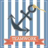 Anchor. Icon with teamwork sign on stripe background Stock Photos