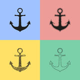 Anchor icons. Set of black anchor icons. Vector illustration royalty free illustration