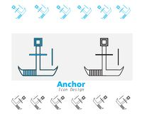 Anchor Iocn design With Flat style royalty free illustration