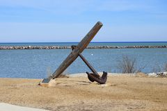 Anchor on Lake Michigan. A ships anchor on the shore of Lake Michigan, Milwaukee, Wisconsin Stock Images