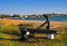 Anchor on lake shore Royalty Free Stock Photos