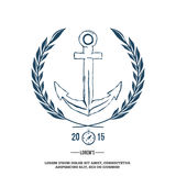Anchor with laurel. Design elements. T-shirt print Vector Stock Photo