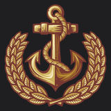 Anchor and laurel wreath badge Stock Photo