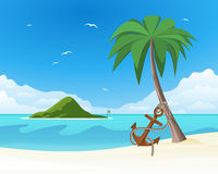 Anchor leaning against the palm on tropical white sand Royalty Free Stock Photos