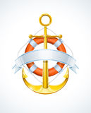 Anchor and life buoy with ribbon Royalty Free Stock Photo