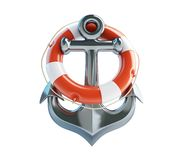 Anchor and Life Buoy Stock Images