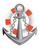Anchor and life buoy Stock Image