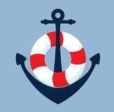 Anchor and lifebelt. Flat - vector - background - nautica Stock Images