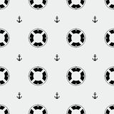 Anchor and lifebuoy pattern. Marine minimalistic style, holidays Stock Photo