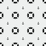 Anchor and lifebuoy pattern. Marine minimalistic style, holidays Stock Photo