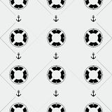Anchor and lifebuoy pattern. Marine minimalistic style, holidays Royalty Free Stock Image