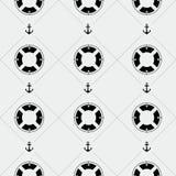Anchor and lifebuoy pattern. Marine minimalistic style, holidays Royalty Free Stock Image