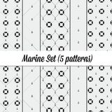 Anchor and lifebuoy pattern set. Marine minimalistic style Royalty Free Stock Images