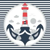 Anchor lighthouse fish illustration vector illustration