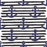 Anchor on Lines Seamless Pattern Vector Illustration.  stock illustration