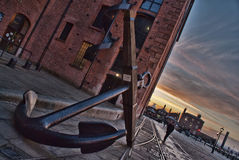 Anchor Liverpool Docks. Anchor on Liverpool docks with the sunset in the background Royalty Free Stock Photography