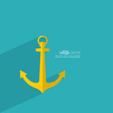 Anchor with long shadow Royalty Free Stock Images