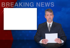 TV Anchor man BREAKING NEWS television reporter. A news anchor man is reporting breaking news with a colorful background and a blank monitor screen to easily