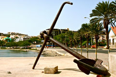 Anchor. In the Mindelo bay in the island of Sao Vincente in the archipelago of Cape Verde Royalty Free Stock Photos