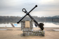 Anchor monument at the embankment of Vistula. Torun, Poland Royalty Free Stock Photo