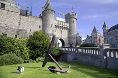 Anchor near Steen castle in the Antwerp. Belgium Royalty Free Stock Images