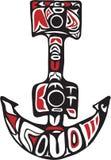 Anchor Northwest Coast Art. Northwest Coast art style illustration of a boat anchor set on  white background Royalty Free Stock Photo