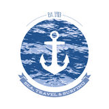 Anchor and ocean waves vintage retro vector Royalty Free Stock Photo