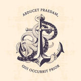 Anchor with octopus Royalty Free Stock Photography
