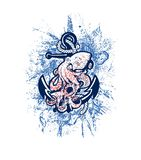 Anchor with octopus. Vector grunge octopus with anchor and rope.Marine life.Octopus vector illustration.Ocean life.Print for t-shirt or canvas .Old Navy royalty free illustration