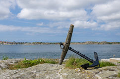 Anchor. Old anchors have been installed onto the rocks Stock Images