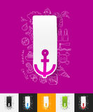 Anchor paper sticker with hand drawn elements Stock Images