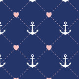 Anchor pattern,Seamless love wedding and valentine. illustration Royalty Free Stock Images
