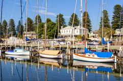 On anchor - Port Fairy. Sailing boats on anchor on the Moyne River - Port Fairy, Victoria, Australia Royalty Free Stock Photography