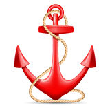 Anchor. Red anchor with rope  on white background. Vector illustration Royalty Free Stock Images