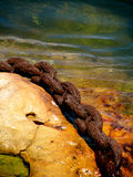 Anchor on Rock. Large anchor chain on Rock, Old anchor chain on Rock stock photos