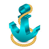 Anchor with rope. Vector 3d illustration of anchor with rope Royalty Free Stock Photo