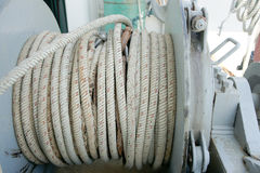 Anchor rope from a anchor winch on deck. Stock Photography