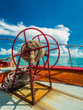 Anchor rope coil on bow of ferry boat heading to Samui Island Stock Photos