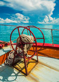 Anchor rope coil on bow of ferry boat heading to Samui Island Royalty Free Stock Photo