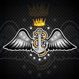 Anchor with rope with gold crown between wings on blackboard. Sport logo for any yachting or sailing team. Or championship royalty free illustration