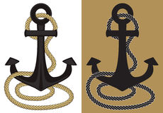 Anchor and rope. Graphic anchor and rope in flat colors Royalty Free Stock Photography