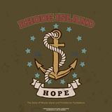 Anchor with rope and hope. Design elements. T-shirt print Stock Photography