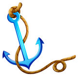 An anchor with a rope. Illustration of an anchor with a rope on a white background Stock Photography