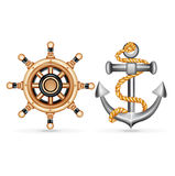 Anchor with rope and ship wheel isolated on white Royalty Free Stock Image
