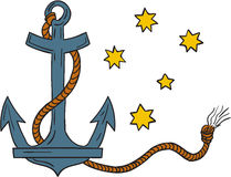 Anchor with Rope and Southern Cross Star Drawing Royalty Free Stock Image
